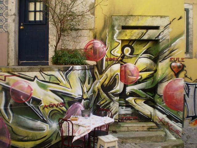 Street art at Alfama, Lisbon - disregarding angles.