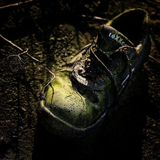 old. green. shoe