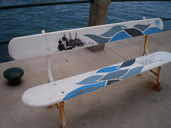 Bench painted with maritime theme.