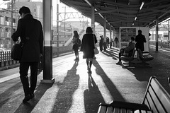 Long shadow on the morning platform
