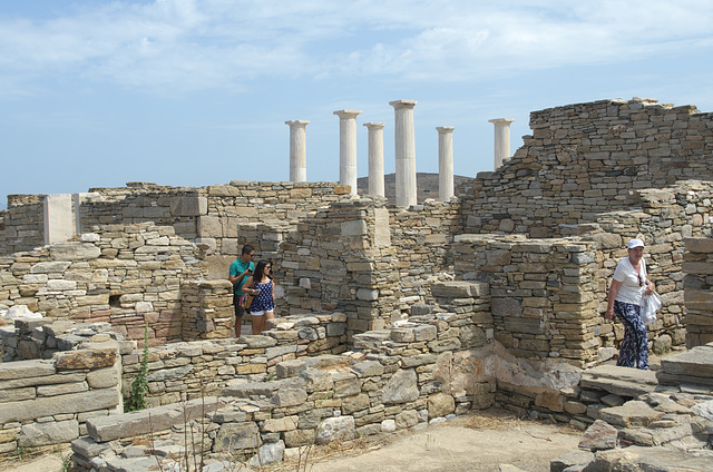Tourists amongst the ruins at Delos