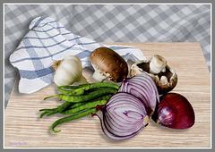 verduras sobre tabla