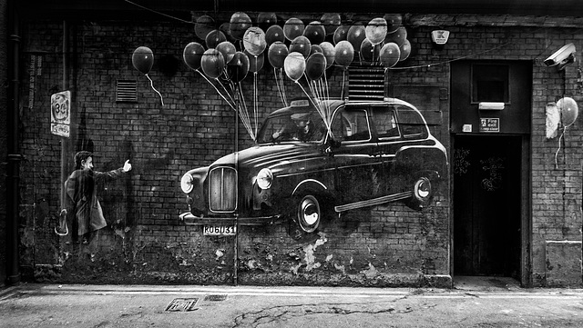Taxi Mural, Mitchell Lane, Glasgow