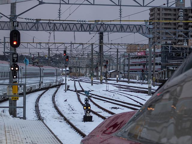 Shinkansen trains at Akita station