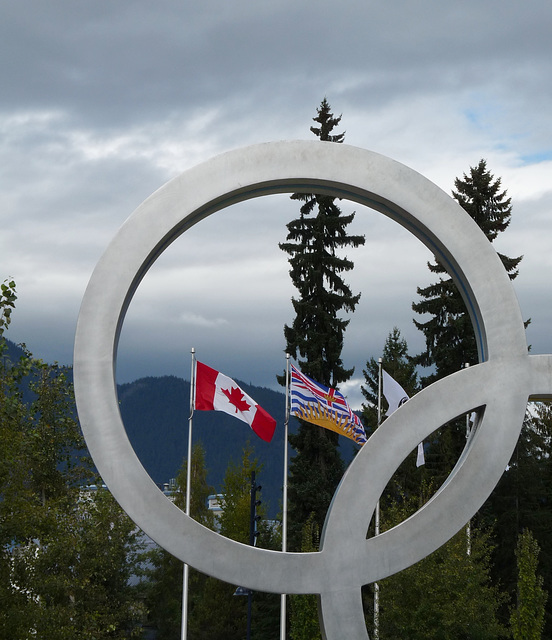 Olympic Ring and Flags of Canada and British Columbia