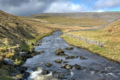 The River Twiss looking towards Twisleton Scar.