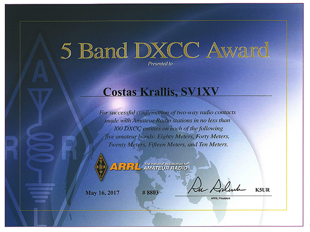 5 Band DXCC certificate
