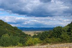 Blick über die Täler auf den Gebirgszug Tschornohora