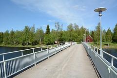 Finland, The Bridge over the Oulujoki River to the Open Air Museum on the Island of Turkansaari