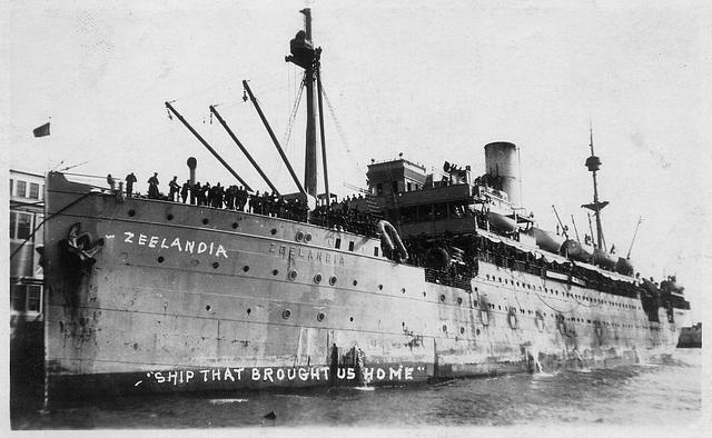 "Troopship Zeelandia, ""Ship That Brought Us Home"", First World War"