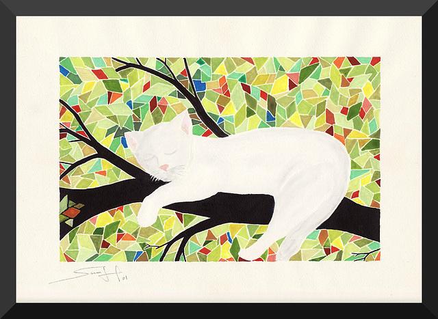 Chat blanc sur branche noire (2001)