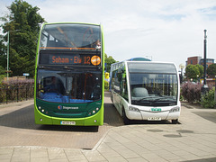 DSCF4539 Stagecoach East AE09 GYK and Big Green Bus Company YJ62 FZF in Newmarket bus station - 22 Jul 2016
