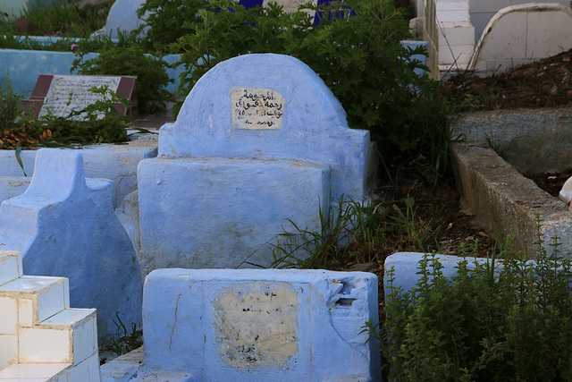 Even the cemetery is blue