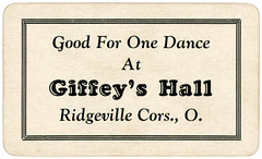Ticket Good for One Dance, Giffey's Hall, Ridgeville Corners, Ohio