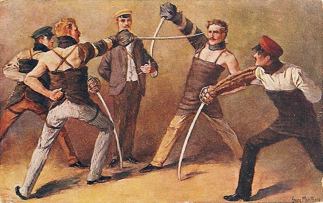 """La """"Mensur"""" était une forme de duel noble au sabre, chez certains étudiants allemands et autrichiens"""