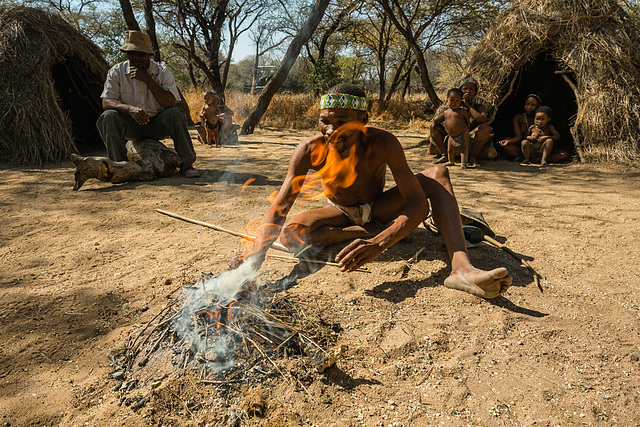 "Erindi San Village - ""CWI CWI"" San People #6 - Making Fire"