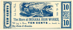 Indiana Iron Works Store Scrip, Indiana, Pa., January 1, 1856