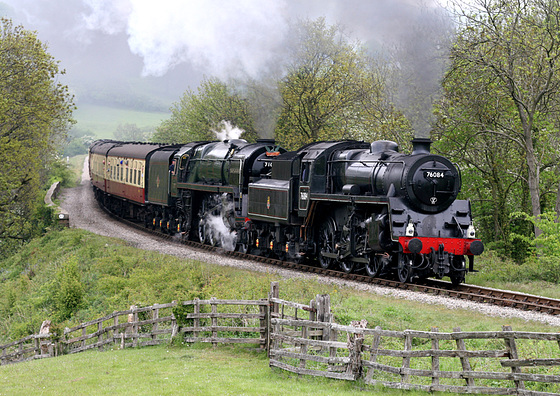 71000 DUKE OF GLOUCESTER with 76084 as Pilot Loco at Esk Viaduct on 2P01 09.30 Grosmont to Pickering 7th May 2011