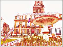 Exposition devant la mairie et le beffroi de Boulogne sur Mer