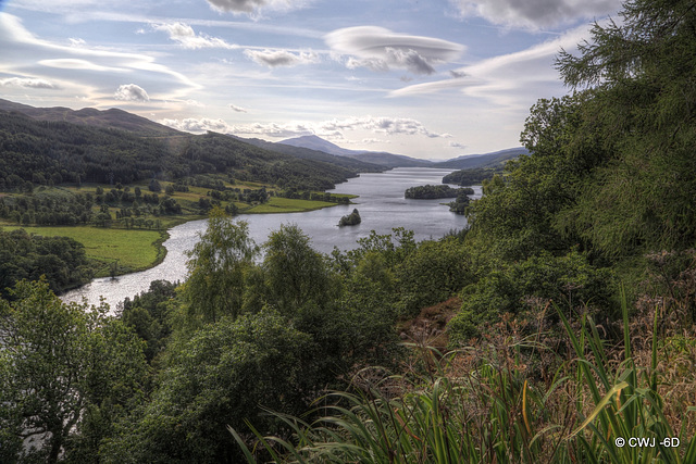The Queen's View above Loch Tummel with Schiehallion. the conical peak at 3,547 feet, in the left background
