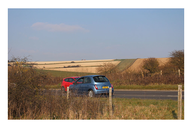 A curiously eye-catching composition of cars and countryside - Denton - Sussex - 17.3.2016