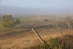 valley bottom land in fog
