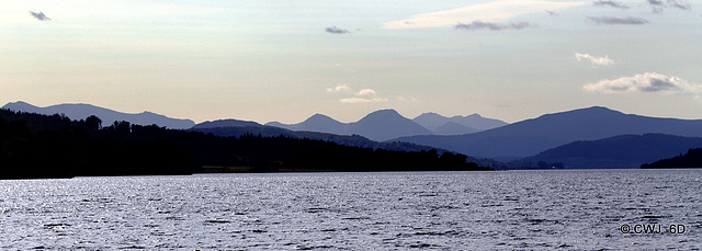 The Mountains of Glencoe from the east end of Loch Rannoch