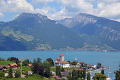 Blick über den Thunersee bei Spiez