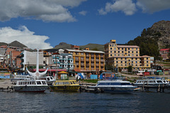 Bolivia, Boats on the Waterfront in Copacabana