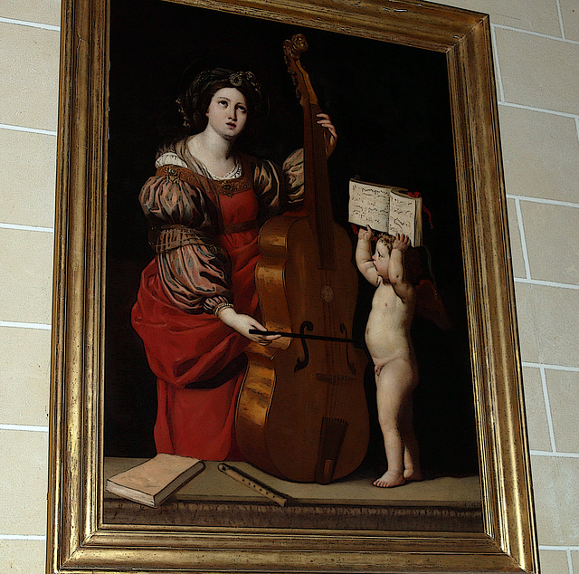 Mille bravos à la commune de Poupry ( 28 ) , pour la restauration d'un tableau de Sainte Cécile et l'ange , de Jules Vignon
