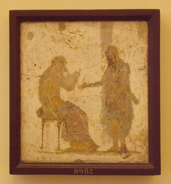 Paris and Helen Wall Painting from the Villa Arianna in Stabie in the Naples Archaeological Museum, July 2013