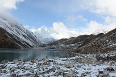 Third Gokyo Lake (4750m), Gokyo Settlement (4790m) and Cho Oyu (8201m) in the Background