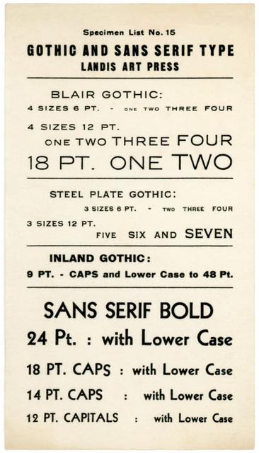 Gothic and Sans Serif Type, Specimen List No. 15, Landis Art Press, Lancaster, Pa.