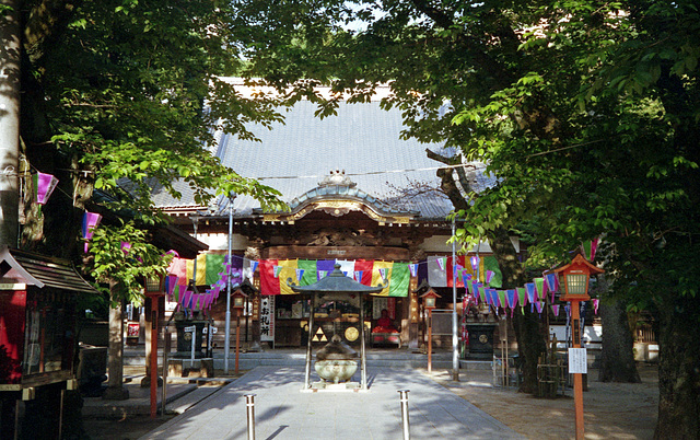 Temple with festival decoration