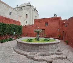 Peru, Arequipa, Santa Catalina Monastery, Fountain on the Plaza Zocodovar and Iglesia Santa Catalina