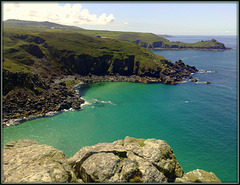 Gurnard's Head and Carn Galva from Zennor Head. Veor Cove below.