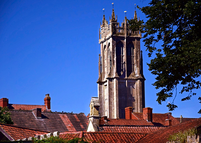 Towering over the Red Roofs of Glastonbury.