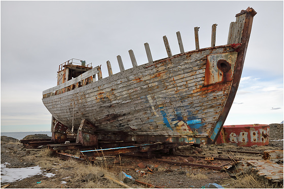 Wreck of a fishing boat