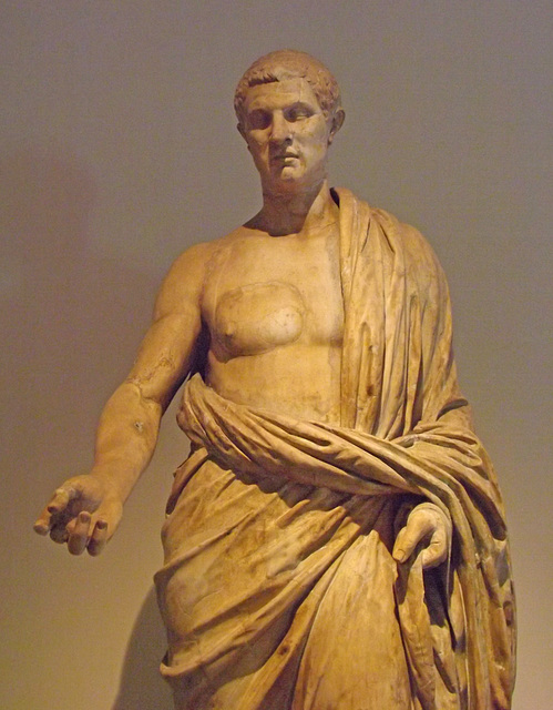 Detail of a Statue of a Distinguished Roman from the Villa dei Papiri in the Naples Archaeological Museum, June 2013