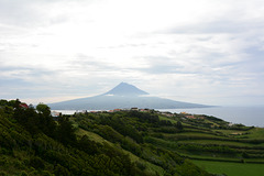 Azores, The Island of Faial, The Pico Volcano is Visible from the Overview Point of Our Lady of Conception