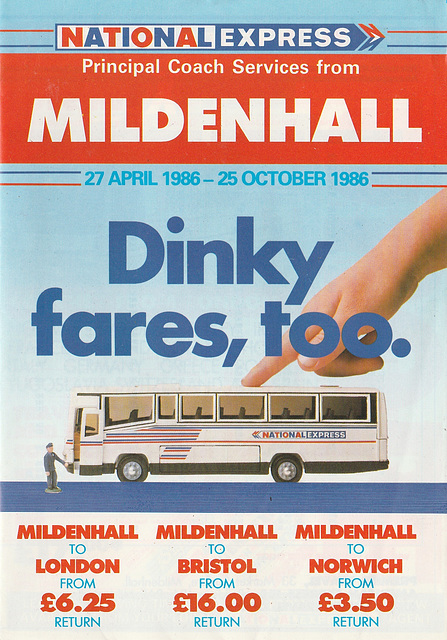 National Express leaflet for Mildenhall services - Summer 1986