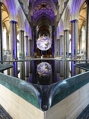 Our planet reflected in the Salisbury cathedral font.