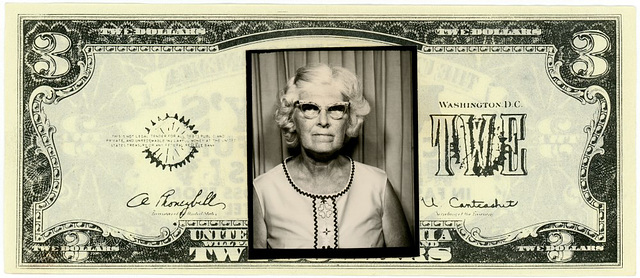 Woman's Photo on a Three Dollar Bill, Mr. Sy's Casino of Fun (Front)
