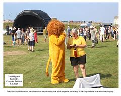 Lions Club mascot overheating - Seaford Mayor's Charities Festival 2021
