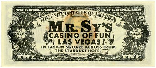 Three Dollar Bill, Mr. Sy's Casino of Fun (Back)