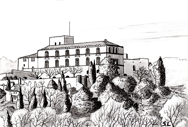 Château d'Ansouis, dessin au crayon...Castle of Ansouis, pencil drawing