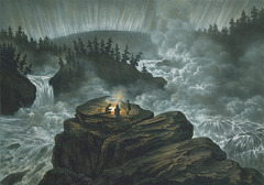 Chutes de Harsprånget dans une aurore boréale trouant la nuit polaire______EXPLORE)