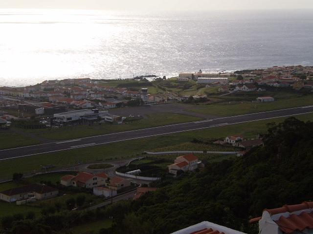 Towering view to Santa Cruz das Flores and airport.
