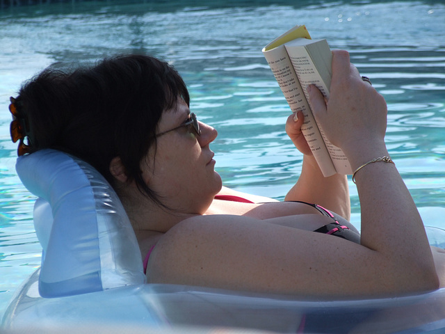 Joanna reading and relaxing