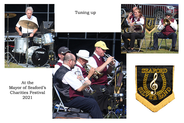 Seaford Silver Band tuning up Mayor's Charities Festival 2021